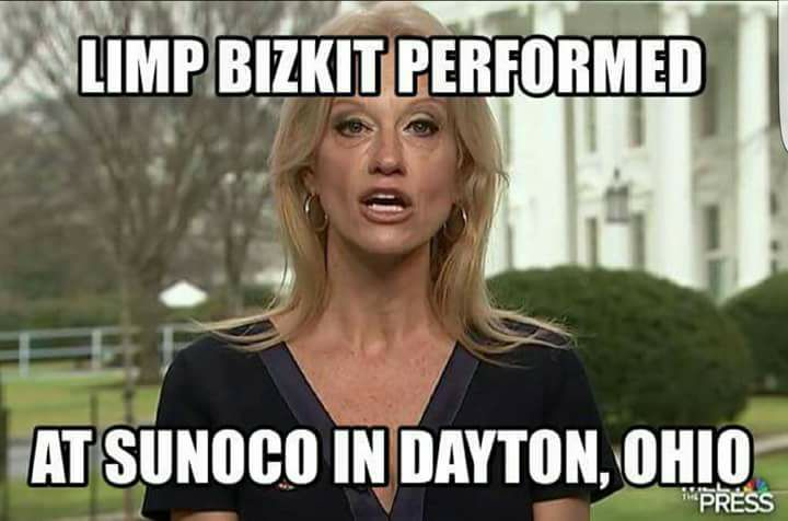 This image has an empty alt attribute; its file name is Kellyane-Conway-Limp-Bizkit-at-Sunoco-alternative-facts-meme.jpg
